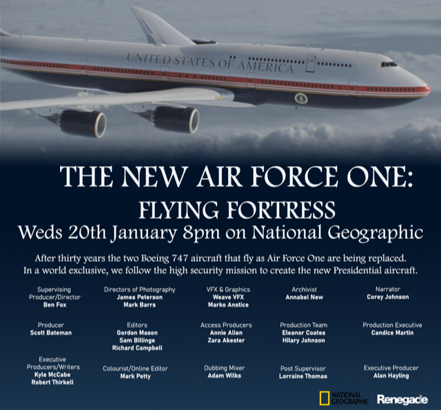 Get ready to learn some new stuff - #CoreyJohnson has voiced new @NatGeo documentary The New Airforce One: Flying Fortress and the show goes out tonight at 8pm
