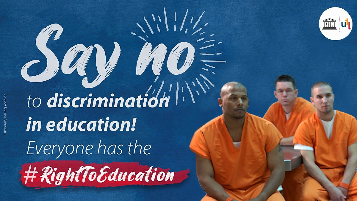 Around 11 million people are currently imprisoned worldwide 🌏. Many of them are denied their #RightToEducation.  Join our webinar 💻 to learn how we can overcome discrimination in prison #education.  🗓️ 21 January 2021, 14.30-16.00h CET ✍️🏽