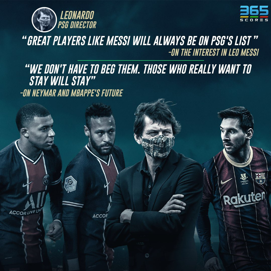 #PSG chief #Leonardo spoke about the future of the club's superstars and the rumors linking #LeoMessi to #Paris.   #Mbappe #Neymar #Ney #NeymarJr #Messi #365Scores