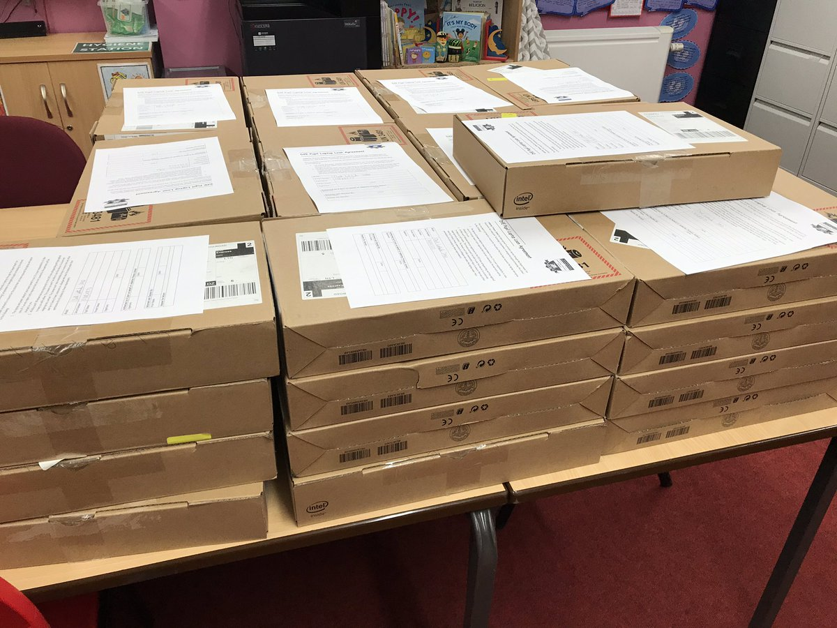 Our additional laptops for our most vulnerable families are ready for collection! Thanks to @educationgovuk for supplementing our existing allocation of devices to ensure all of our children can access live lessons remotely.