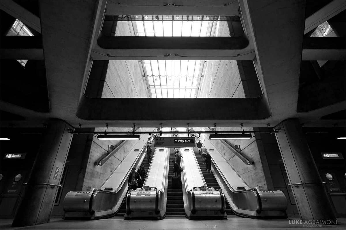 MY FAVOURITE LONDON TUBE FEATURES & LOCATIONS 🚇/18  Bermondsey Escalators  There are many London Underground escalators to admire, but the stunning stairs at Bermondsey, I feel are always overlooked.  📸 instagram/tubemapper  #london #photography #architecture #blackandwhite
