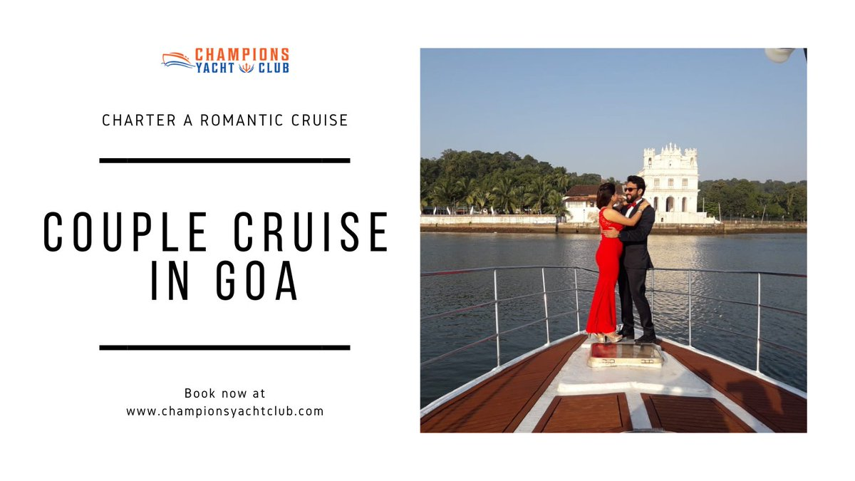 An unforgettable #romanticdate with your better half on a luxury #CruiseInGoa 💕. Charter or hire a #yacht 🛥️ in Goa and enjoy the perfect magical #sunset onboard 🌅. Book a #cruise at .  #ChampionsYachtClub #couplecruise #couplegoals #love   #romance #fun