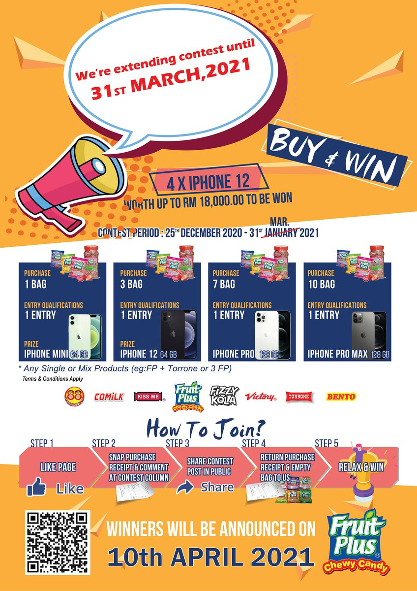 Announcement: 'Buy & Win with KHEE SAN products'🎁🎁extended to 31 March 2021. Buy #fruitplus or any Khee San products now to stand a chance to win iPhone 12 Series up to RM 18,000. More details:  #iPhone12 #iPhone #win #festiveseason  #Malaysia  #kheesan