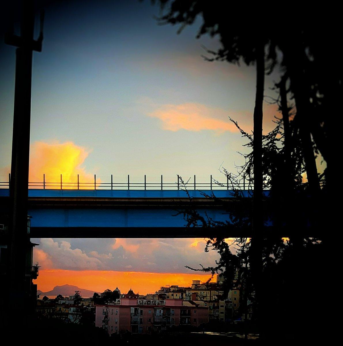 Foto dal mio quartiere - Tramonto e asfalto blu - #carlodemarco #napoli #naples #italia #campania #italy #sunset #tramonto #sky #trees #landscape #panorama #orange #clouds #landscapephotography #luigiventrigliaphotography #sera #night #vignettatura #blu #blue #colors #building