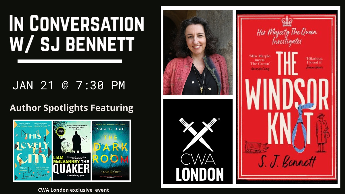 Tomorrow! CWA Londons first 2021 event. Excited to chat with @sophiabennett! And have readings by @LouRHare, @LiamMcIlvanney, and @samblakebooks. (Non-CWA members, we have a handful of guest spots if youd like to hang out with us. DM me.)