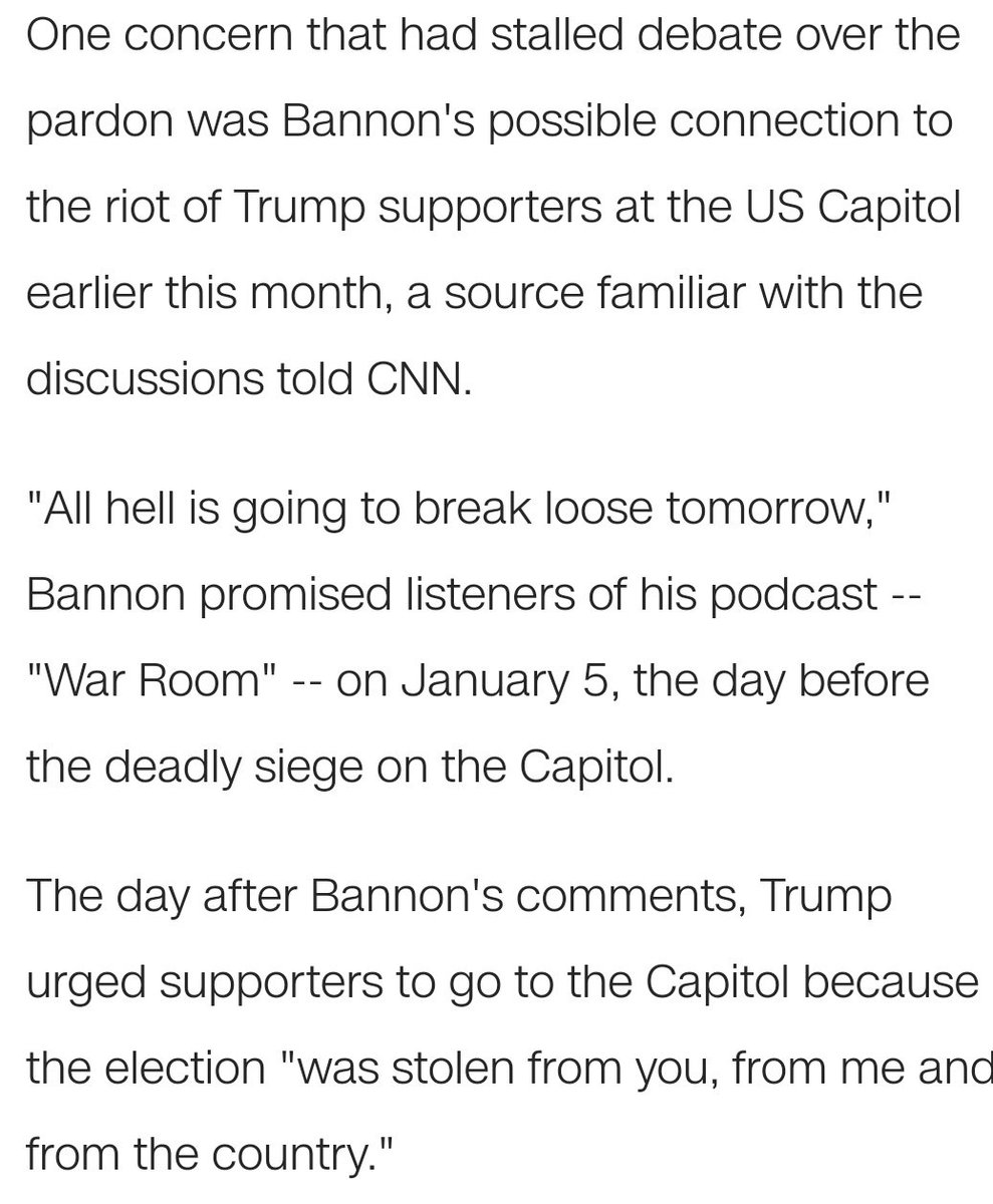 Trump pardons Steve Bannon, the bloke who whipped up the nutjobs before Trump whipped up the crowd. What an utterly ridiculous situation the USA has suffered! #TrumpPardon #TrumpsLastDay  CNN: