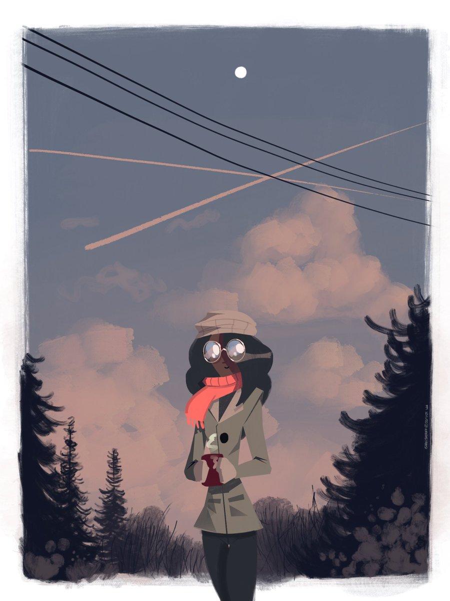 HOT COCO  #winter #sunset #woods #trees #hotcoco #coffee #cartoon