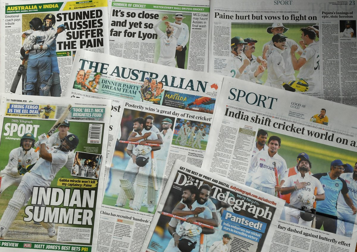 Replying to @ICC: The headlines after the Gabba epic 📰  #AUSvIND