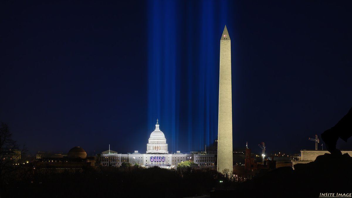 Tuesday night's pre-inauguration view of Washington DC's National Mall, featuring the Pillars of Light over the Field of Flags  #USCapitol #WashingtonMonument #Inauguration2021 #InaugurationDay #PillarsofLight #FieldofFlags #NationalMall #stormhour #thephotohour #NikonNoFilter