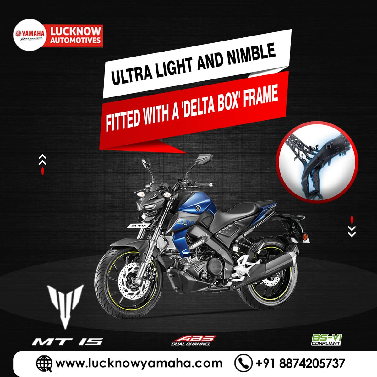 This hyper naked bike will not only give you the thrill you seek but will also inspire immense confidence in the rider. Call Us📲:- For service:6388969783,8887745449 For sales: 8948433111 For spare: 9670419111 #Yamaha #YamahaIndia #wednesdaythought #MotivationalQuotes