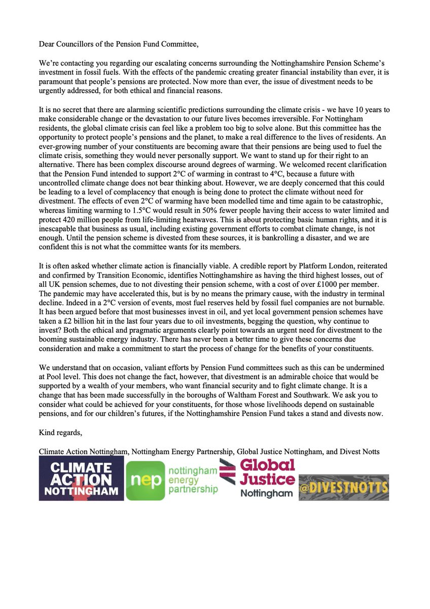 Our open letter has just gone out to the Cllrs of the Pension Fund Committee. Please read and share with everyone - your Cllr, your teacher friends. Use your voice. Share your concern.