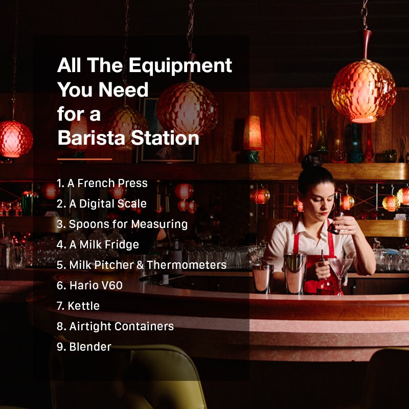Thinking of setting up a coffee station? Not sure where to start? Here's what you were looking for: A simple list of all the essential equipment you'll need to set up a Barista Station and start making high-quality coffee as soon as possible!  #barista #likeforlikes #l4l #fnb