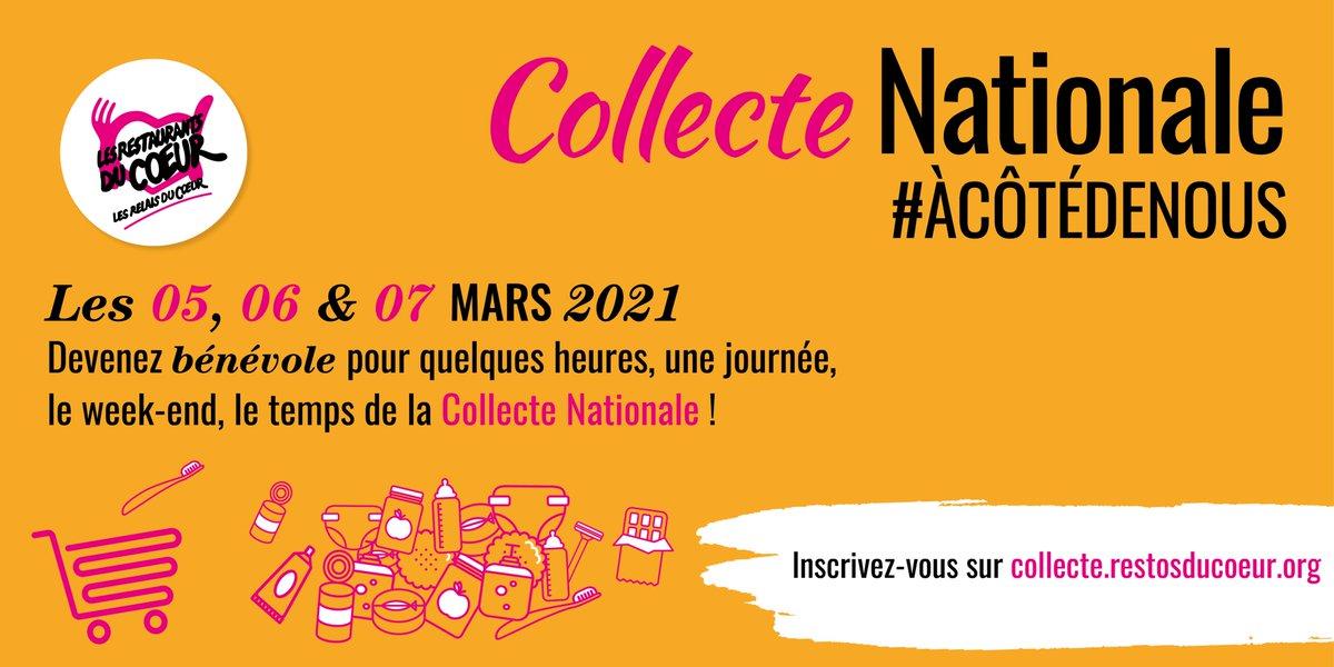 Du 05 au 07 mars aura lieu la grande Collecte Nationale des Restos. Nous avons besoin de vous ! Plus nous serons de bénévoles, plus de magasins pourront participer, plus nous pourrons récolter de dons alimentaires et d'hygiène.  S'inscrire 👉  #ACôtéDeNous