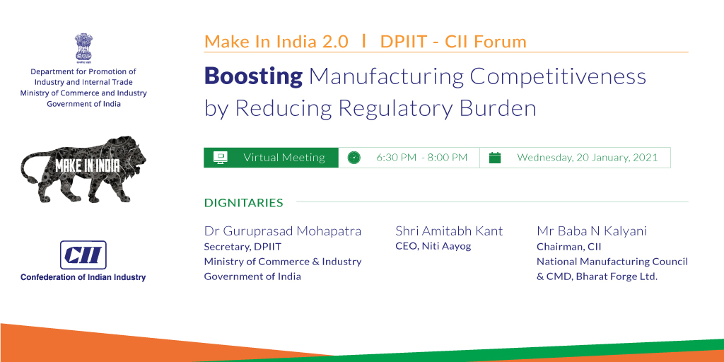RT FollowCII: RT @EODB_India: Join us Live at '#MakeinIndia 2.0 | DPIIT - CII Forum' on boosting #manufacturing competitiveness by reducing regulatory burden.   YouTube live streaming link: