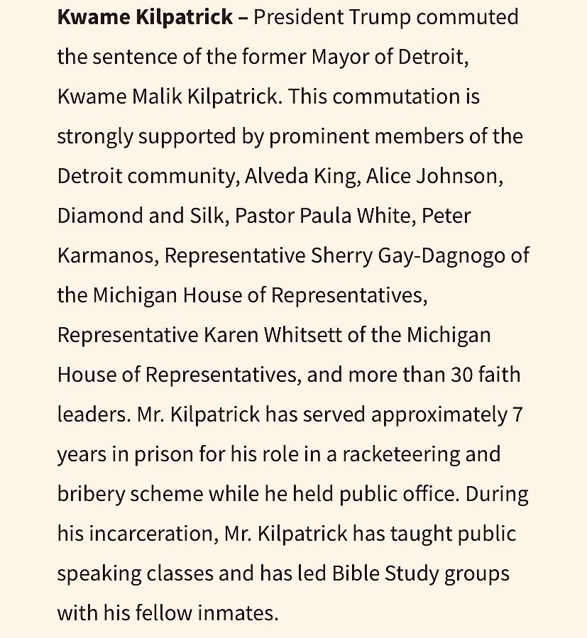 "I wonder how all the urban sprawl (eh hem... ""white flight"") folks outside of Detroit are reconciling this move? Conflict of interest much? Punishment for not carrying MI for him? #detroit #KwameKilpatrick #DonaldTrump #PardonWatch #birdsofafeather"