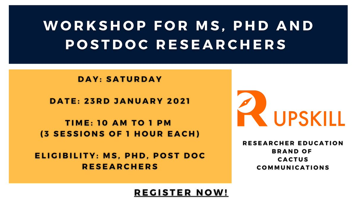 #ISMO2021 is organizing a workshop for #ms, #phd and #postdoc researchers with R Upskill @Cactusglobal! Join us on #SaturdayMorning 23rd Jan, 10 am IST!  Have you registered yet?    #scicomm #publish #research #science #tech #sciencetwitter #scienceforall
