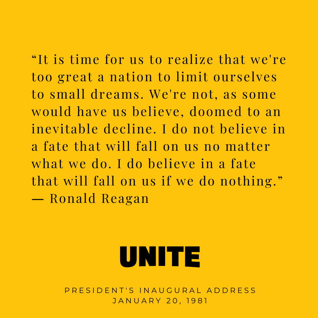 Thank you Ronald Reagan, 40th President of the United States, for reminding us to dream big and never lose hope. #inauguration #president #joebiden #ronaldreagan #answeringthecall