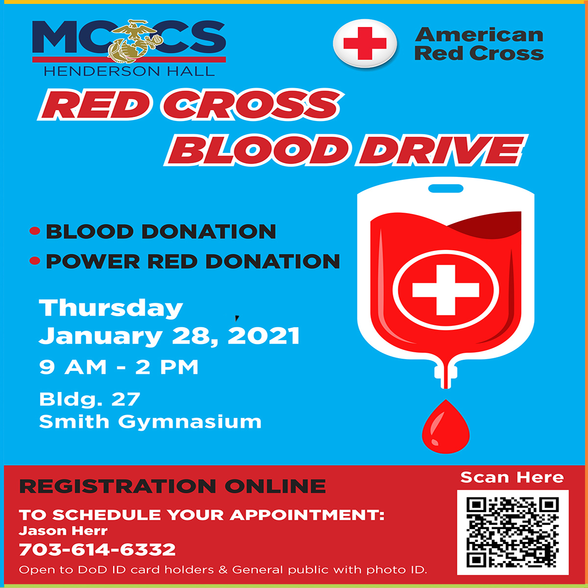 MCCS Henderson Hall Red Cross Blood Drive.  #jbmhhfmwr #mwrcares #quarantine2021 #alonetogether