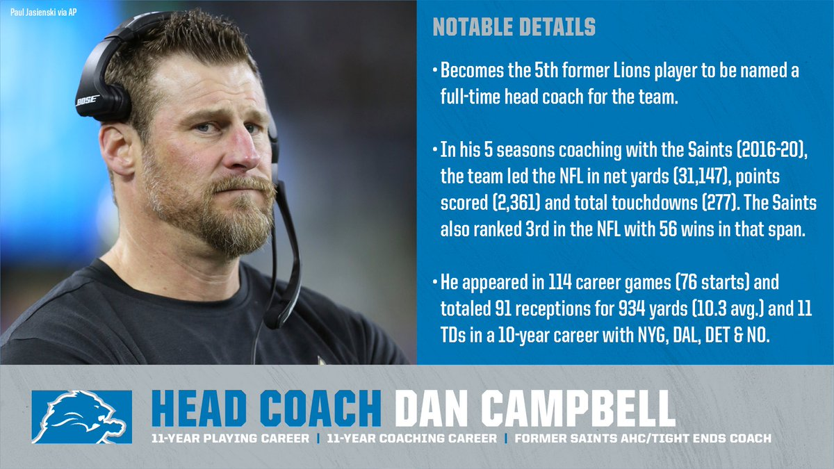 The @Lions have agreed to terms with Dan Campbell to become the team's next head coach.  He is the 1st assistant to serve under Sean Payton to be directly hired to become another #NFL team's head coach.  He's also the 5th former Lions player to serve as the team's head coach: