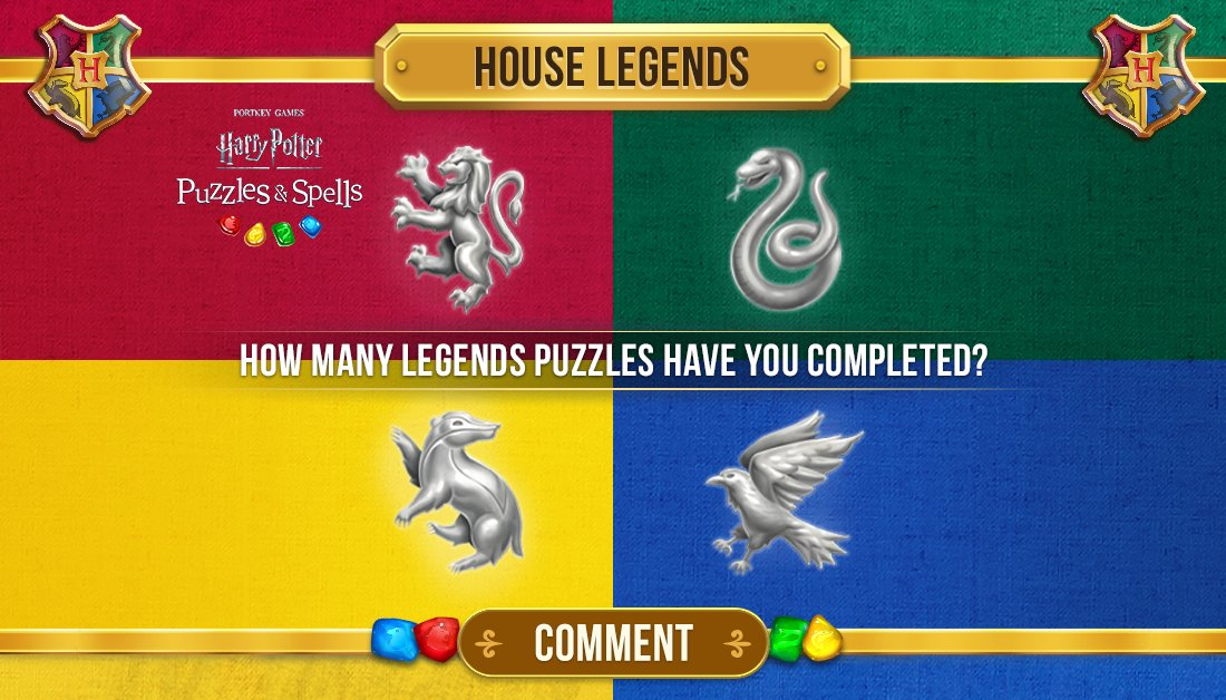 Let's see where everyone is! What House Legends puzzle have you reached in @HPPuzzlesSpells? Comment below!  Play House Legends after the Player Journey NOW ➡️   #HarryPotterPuzzlesAndSpells #HouseLegends #Gryffindor #Slytherin #Hufflepuff #Ravenclaw