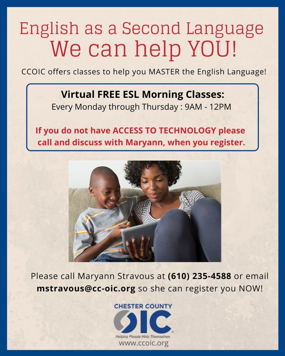 Please call Maryann Stravous at 610-235-4588 or email mstravous@cc-oic.org so she can register you NOW! #ccoic #esl #success #morningclass #free #virtual
