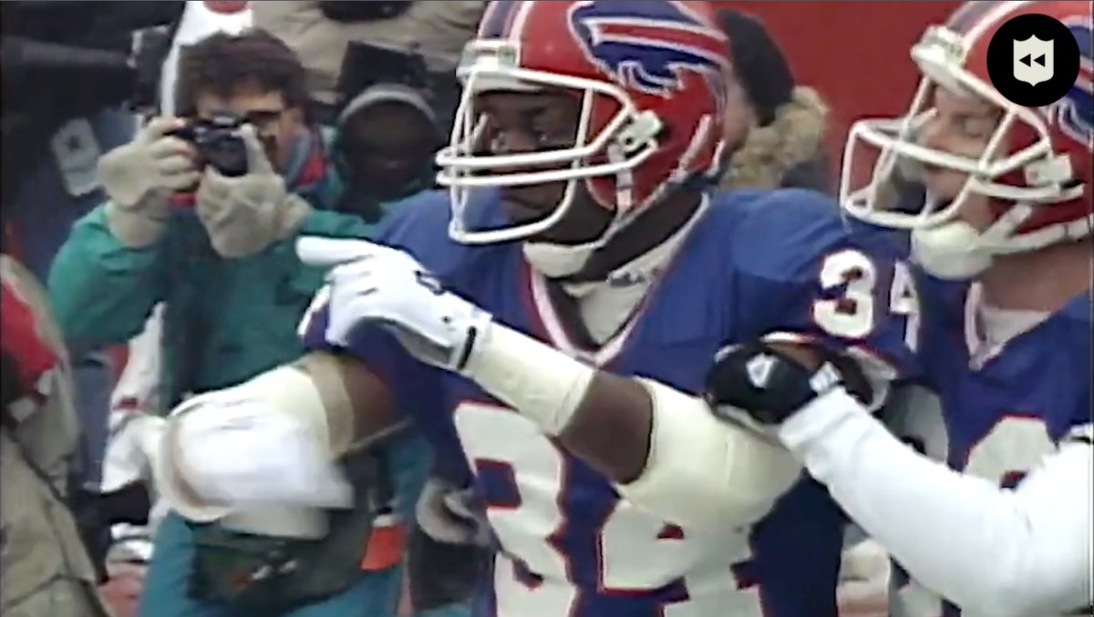In the @BuffaloBills last AFC Championship appearance in 1994, Thurman Thomas ran wild with a three-touchdown performance! (via @nflthrowback)  📺: #BUFvsKC | Sunday 6:40pm ET on CBS 📱: NFL app // Yahoo Sports app