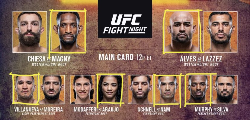 Main Event King is putting the streak in the hands of Magny. He is a talented dude who needs to take that step up and this will be it. Also like Murphy, Nam, Araujo and Alves. So put them all together for a 5 leg and let's win some money! #UFCFightIsland8 #joeymoneypicks