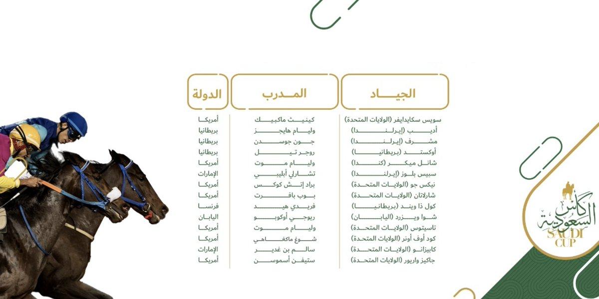 نشارك معكم قائمة الجياد الأعلى تصنيفاً المشاركة في أمسية #كأس_السعودية والتي تدعم هذا الحدث العالمي ليتربع على عرش #سباقات_الخيل العالمية. 🏆🇸🇦