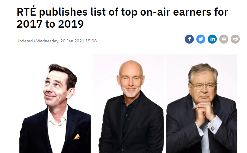 Montrose Millionaires   RTÉ publishes list of top on-air earners for 2017 to 2019  In 2019 - Ryan Tubridy - €495,000, with Ray D'Arcy second €450,000 and Joe Duffy in third place with €392,494.  Marian Finucane, €358,013. Sean O'Rourke €327,988.  https://t.co/wRwP5t74v6 https://t.co/VJYzSeCXxu