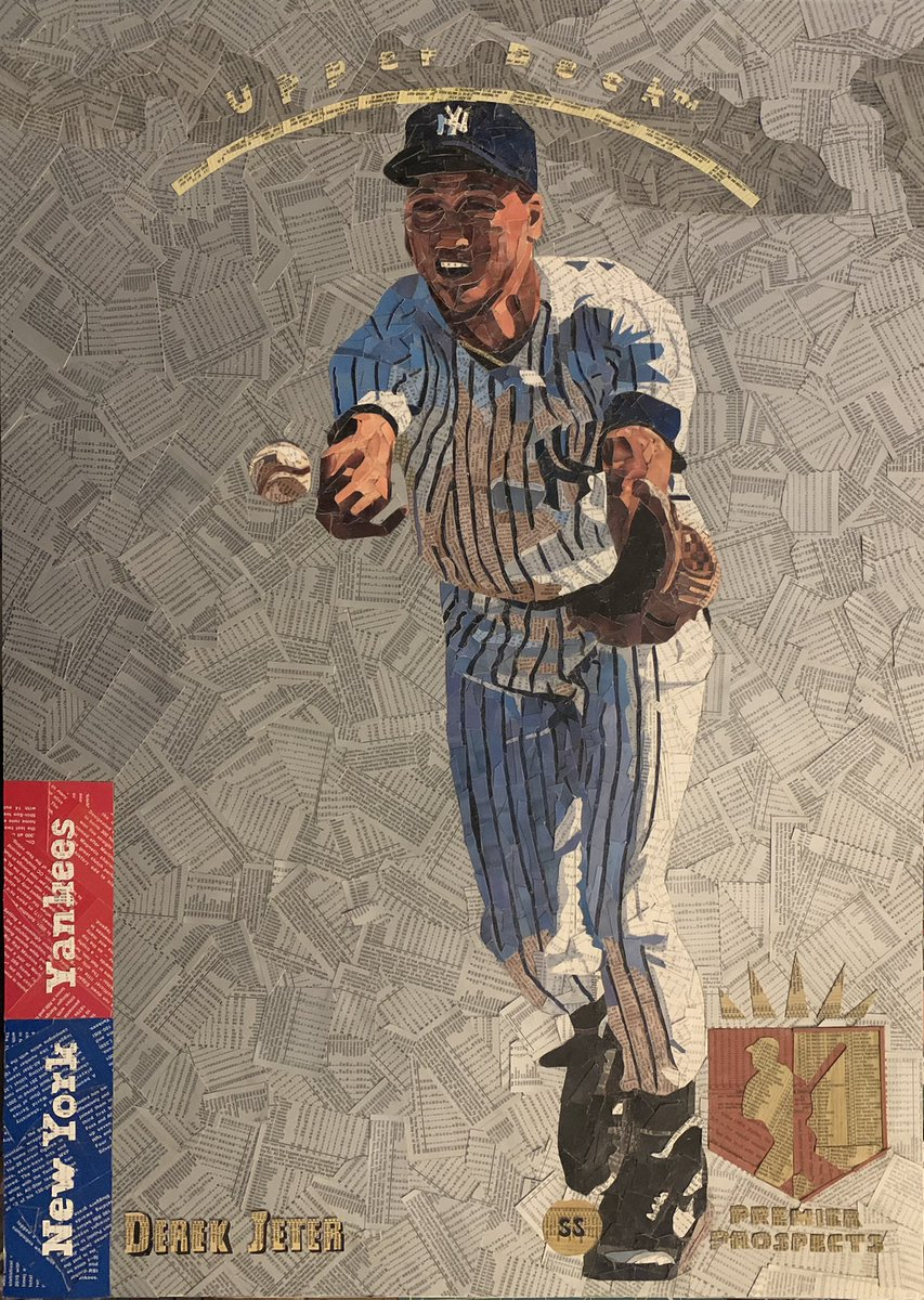 """Final touchups underway and this 1993 SP Jeter artwork will be complete!  20"""" x 28""""; Cut baseball cards; SOLD."""