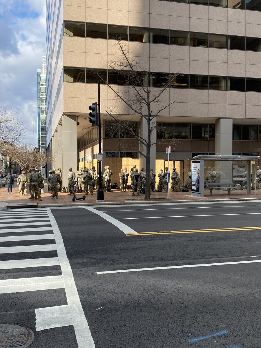 Back downtown w/ @danspinelli902 to cover inauguration happenings in DC. City is even more locked down than it was two days ago. Barricades stretch all the way back to L Street.