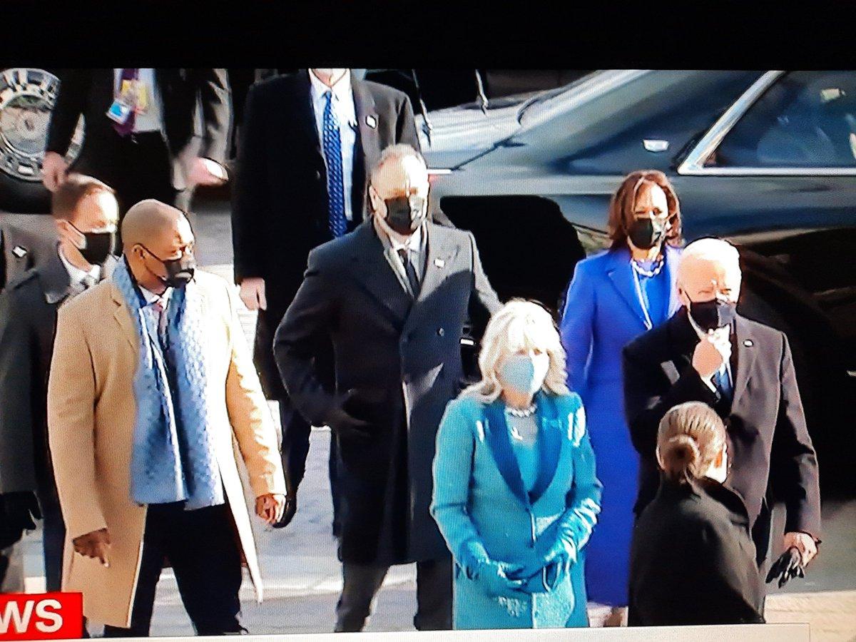 Here is our team   Vice President Kamala Harris Second Man Doug   President Joe Biden First Lady Jill Biden   Welcome! #Inauguration2021 #InaugurationDay #ByeDon