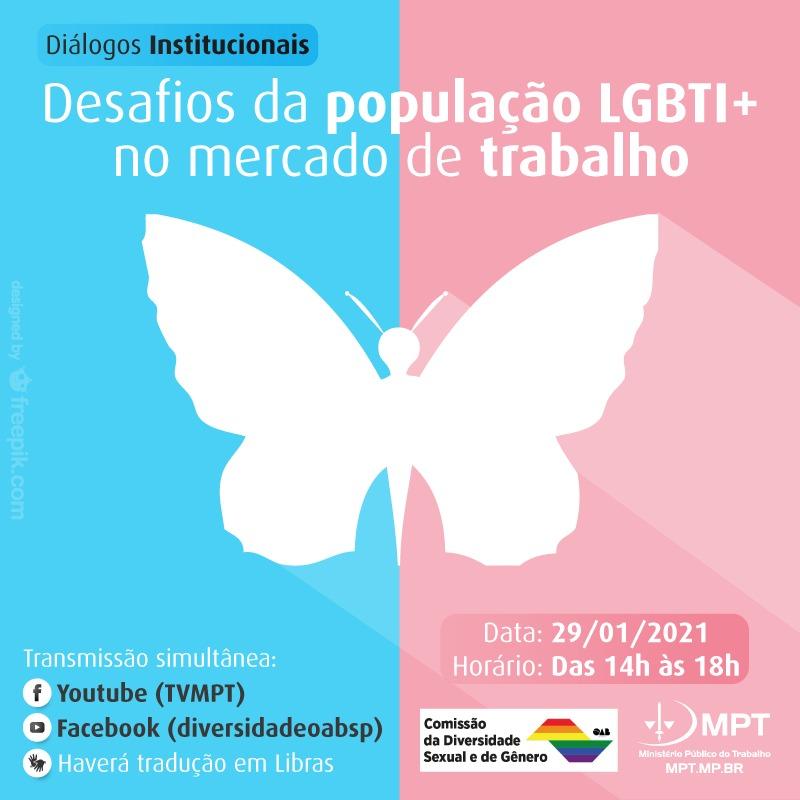 No Dia da Visibilidade #LGBTQIA , #live contará com a participação de procuradoras do #MPT e de representantes de diversas entidades e organizações ligadas ao mundo #jurídico, #trabalhista e da #diversidade  Clique para se inscrever: