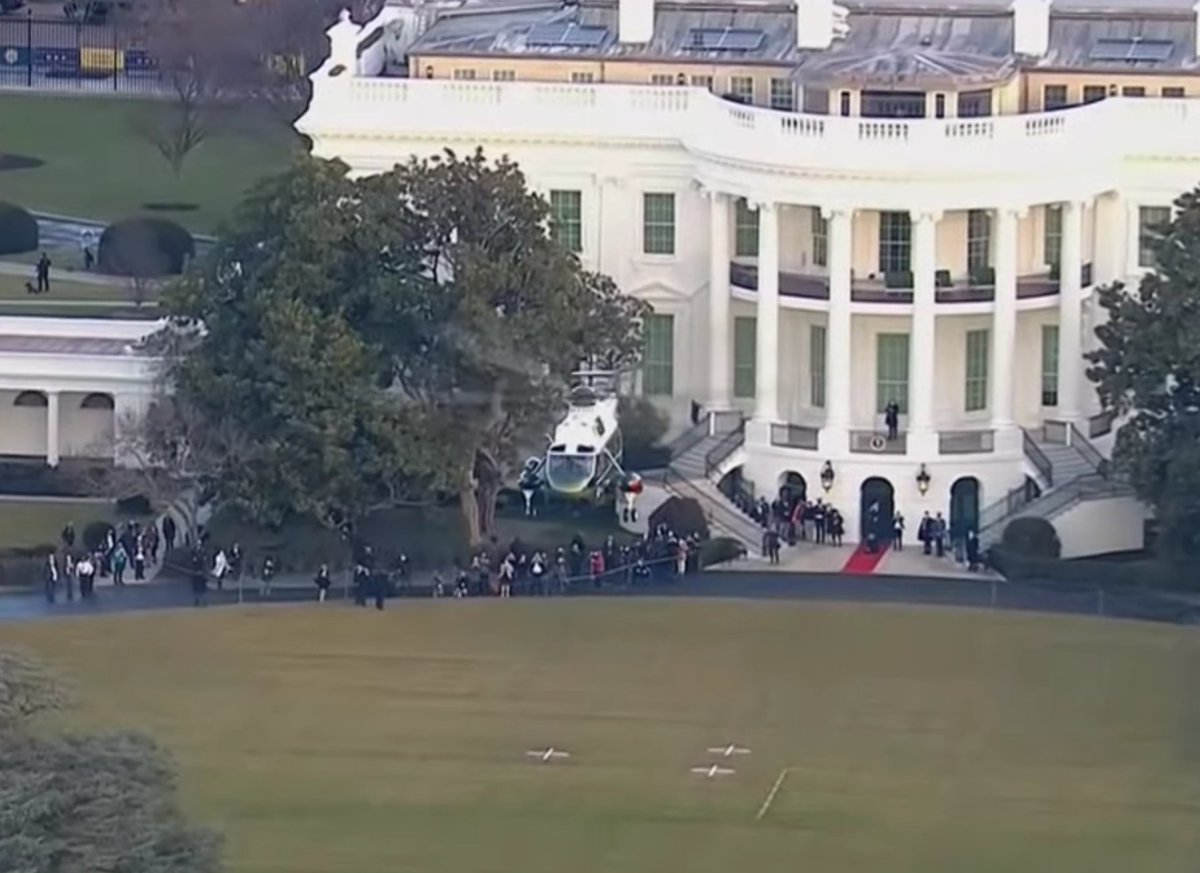 I'd like to think they dropped him off just around the corner, next to a Subway. #InaugurationDay #ByeByeTrump