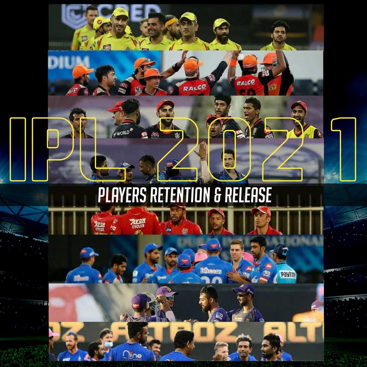 Indian Premier League 2021 🇮🇳🏏  🌟 Players Retentions 👇 🌟 Players Release 👇  Courtesy - CricTracker  #Cricket #IPL2020 #IPL #IPLT20 #Dream11ipl #MI #CSK #RCB #RR #KXIP #DC #SRH #KKR #IPL2021Auction #INDvAUS #IPLAuction #ViratKohli #MSDhoni #rohitsharma