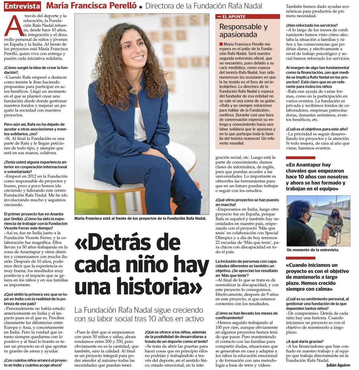 """""""Detrás de cada niño hay una historia"""" dice M.F. Perelló en la entrevista con @UHmallorca sobre #FundaciónRafaNadal  ⬇️⬇️⬇️⬇️⬇️"""