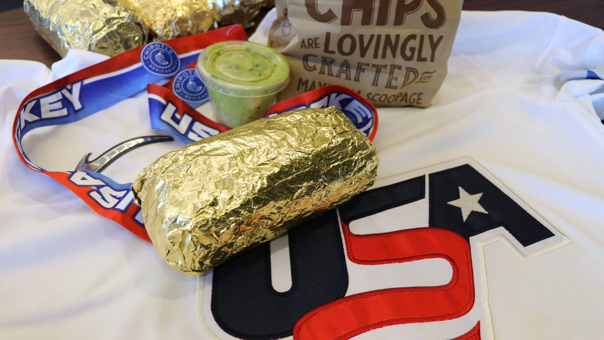Gold medal → gold foil. 🥇   The USA Hockey staff was treated to gorgeous gold-wrapped burritos, courtesy of our friends at @ChipotleTweets, to commemorate the #WorldJuniors win!