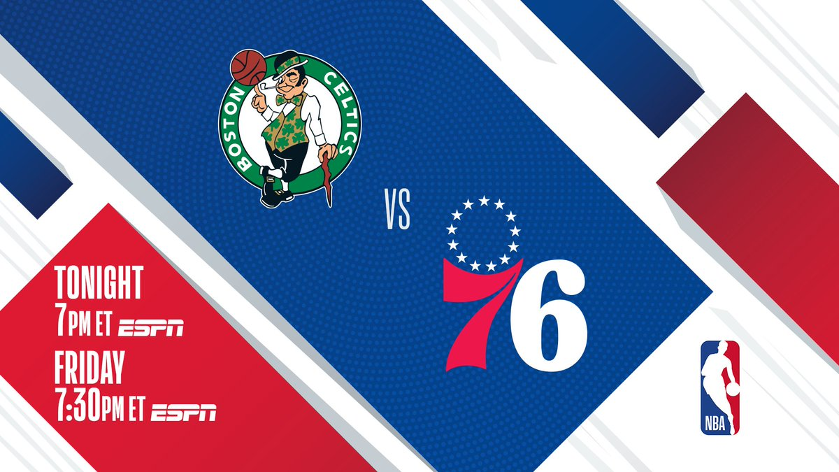 ▪️ East Rivals Match Up  ▪️ #1 East BOS vs. #3 East PHI ▪️ Embiid: 25 PPG, 11.5 RPG  @celtics and @sixers meet tonight at 7:00 PM ET for the first of two back-to-back ESPN matchups this week! https://t.co/7NyqcTAl4I