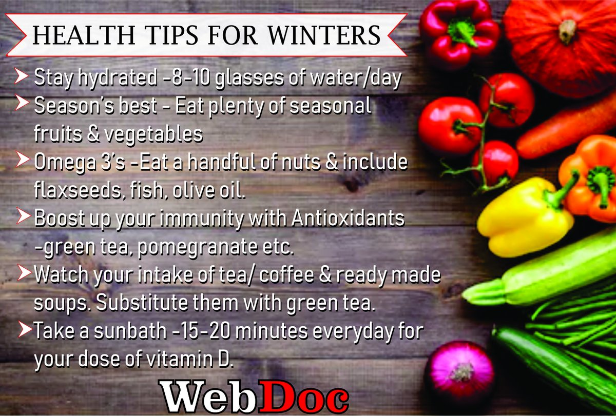 Health Tips for winter Visit:  #bhfyp #behealthy #webdoc #nutrition #ramadan #picoftheday #fitness #bestoftheday #motivation #healthy #inspiration #workout #blessed #naturalremedies #foodismedicine #healing #healthylife #healthiswealth #doctorinyourpocket