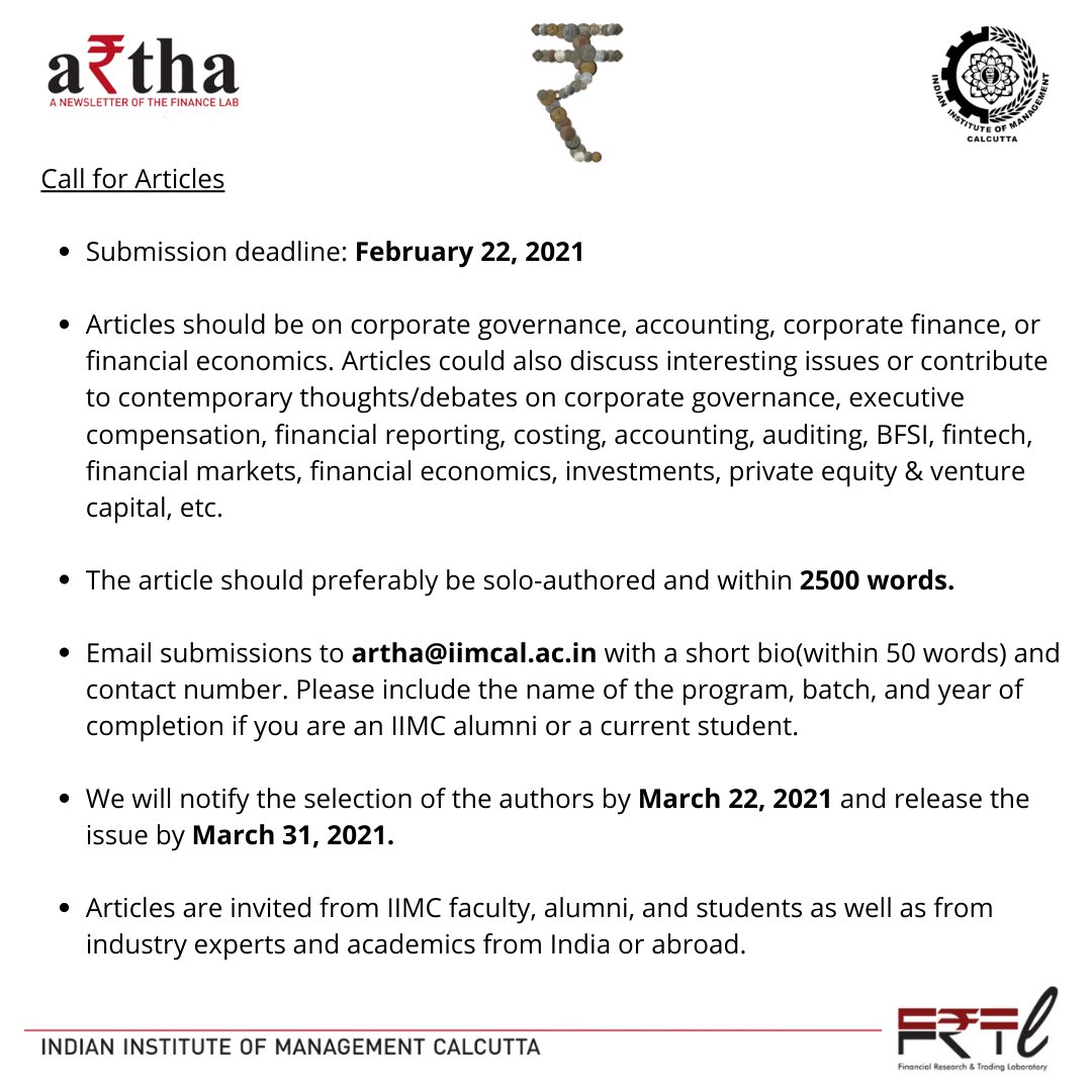 If you are passionate about writing on topics such as corporate governance, accounting, corporate finance or financial economics, you are welcome to contribute articles for A₹tha's upcoming March issue which is our e-newsletter published by the Finance Lab at IIM Calcutta. https://t.co/KhYcV7Aufu