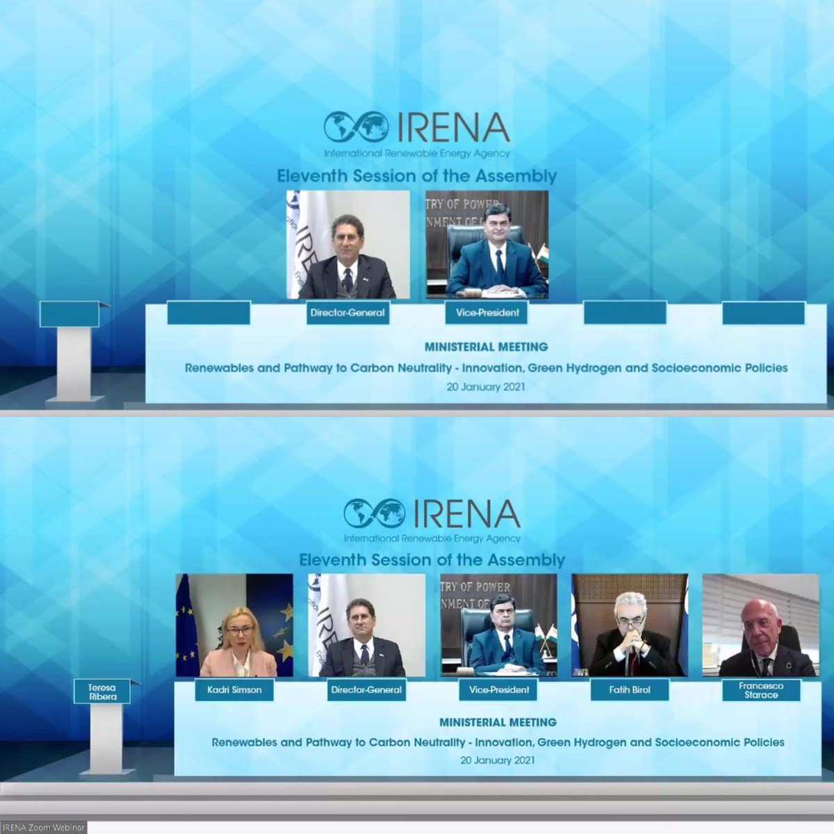 The Hon'ble Minister of State (IC) for Power and New & Renewable Energy, Shri R K Singh, chaired the Ministerial Plenary meeting on 'Renewables  and Pathway to Carbon Neutrality- Innovation, Green Hydrogen and Socioeconomic Policies' at the 11th Session of @IRENA Assembly today. https://t.co/oajKR8UMvH