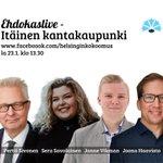 Lauantaina keskustellaan kuntavaalien merkeissä. Osallistun itäisen kantakaupungin keskustelutilaisuuteen, mukana keskustelussa @JanneVikman, @SeraSavolainen ja @PerttiSivonen. Tervetuloa mukaan live-lähetykseen 23.1. klo 13:30.
