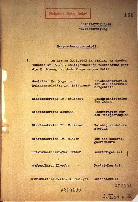 20 January 1942 | A meeting was held in a villa in Berlin-Wannsee to discuss logistics and legal aspects of the operation of the extermination of Jews. This is the first page of the #Wannsee conference protocol. Find documents here: https://t.co/JKzdOT4Ft6 https://t.co/brhDDEgFqT