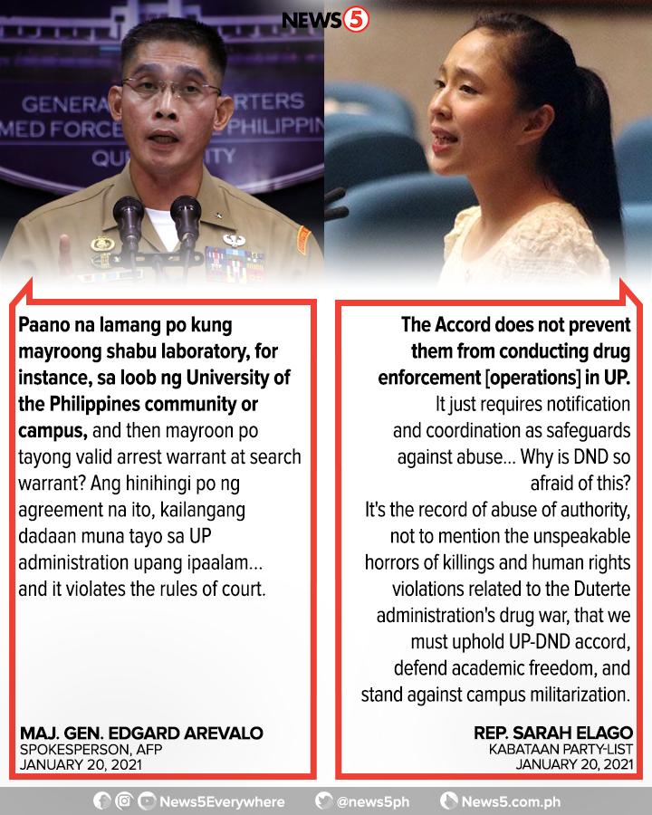 Nagkomento si Rep. Sarah Elago sa nabanggit na dahilan ng AFP kung bakit kailangan nang wakasan ang UP-DND Accord na nagbabawal sa basta-bastang pagpasok sa pulis at militar sa mga campus.