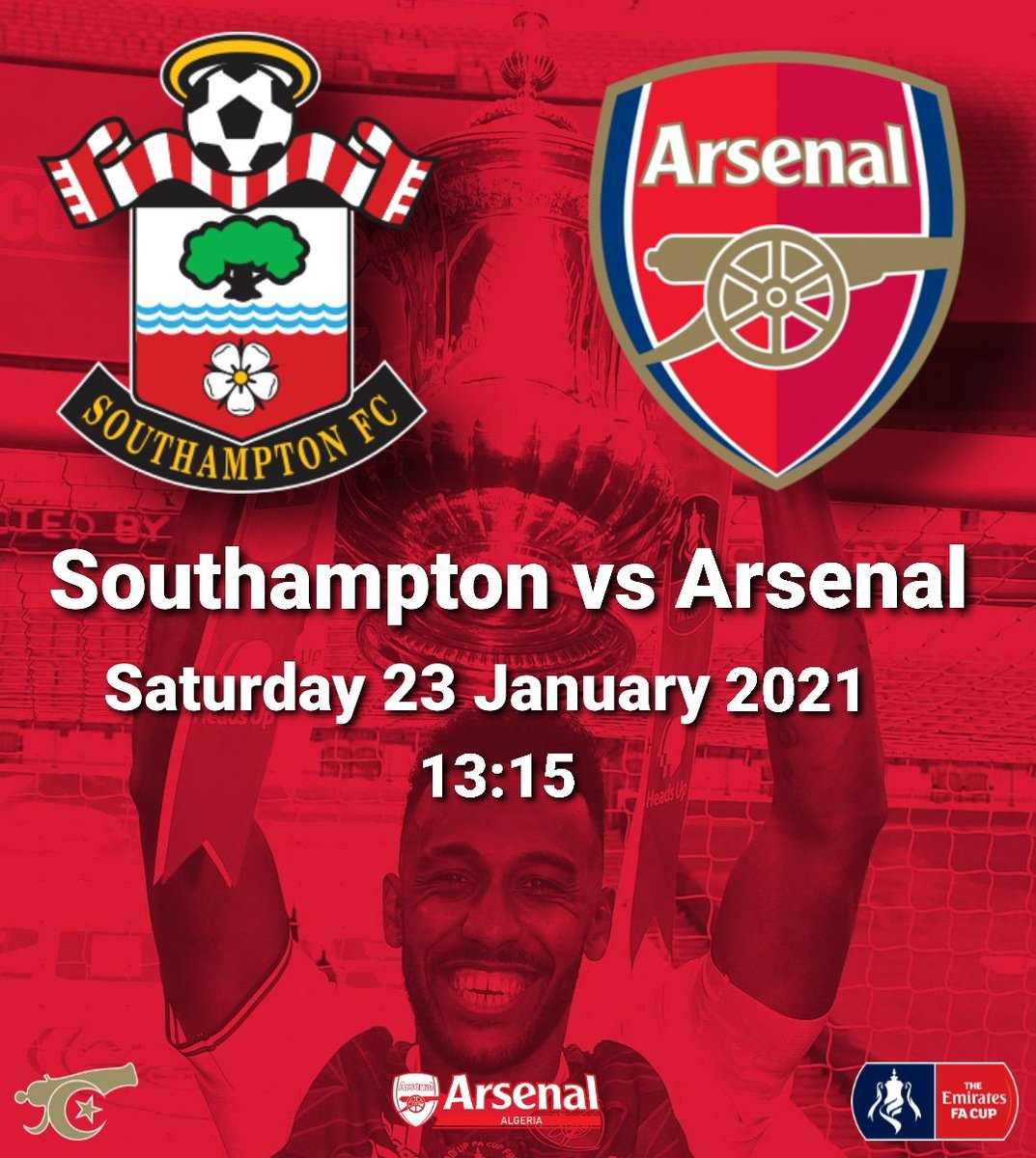 🆚 @SouthamptonFC vs @Arsenal 🏆 @EmiratesFACup 🗓 Saturday 23 January 2021 🕑 13:15 🏟 St Mary's Stadium   #Arsenal #Southampton #Algeria #AlgerianGooners #EmiratesFACup #FACup