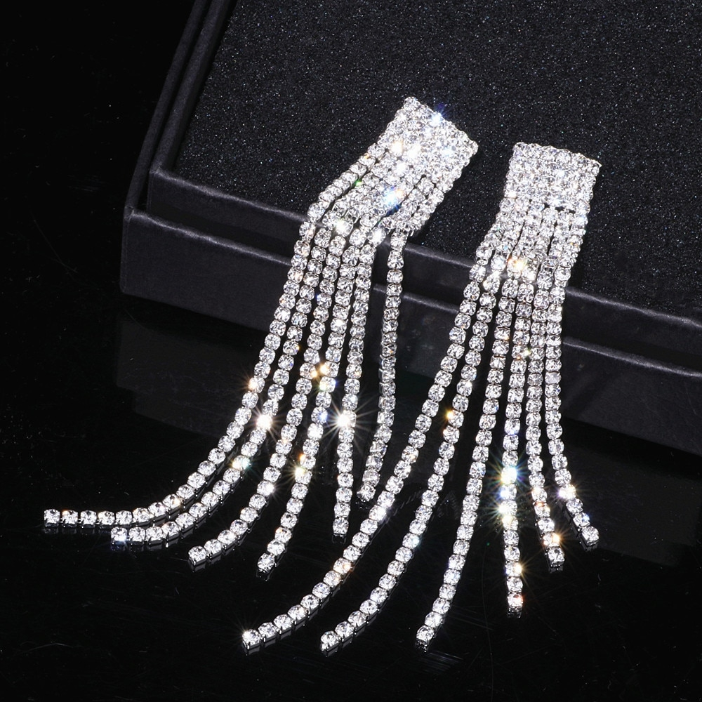 #makeup #bestoftheday Crystal Long Tassel Earrings