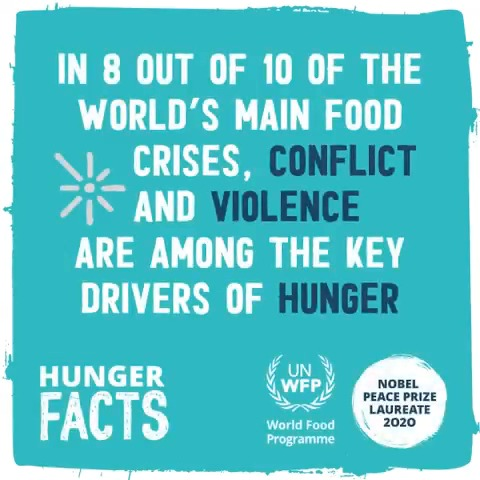 #DYK That over 60% of the world's hungry live in countries affected by conflict?  🔁 Join us and share this plea for peace and #ZeroHunger! 🕊️