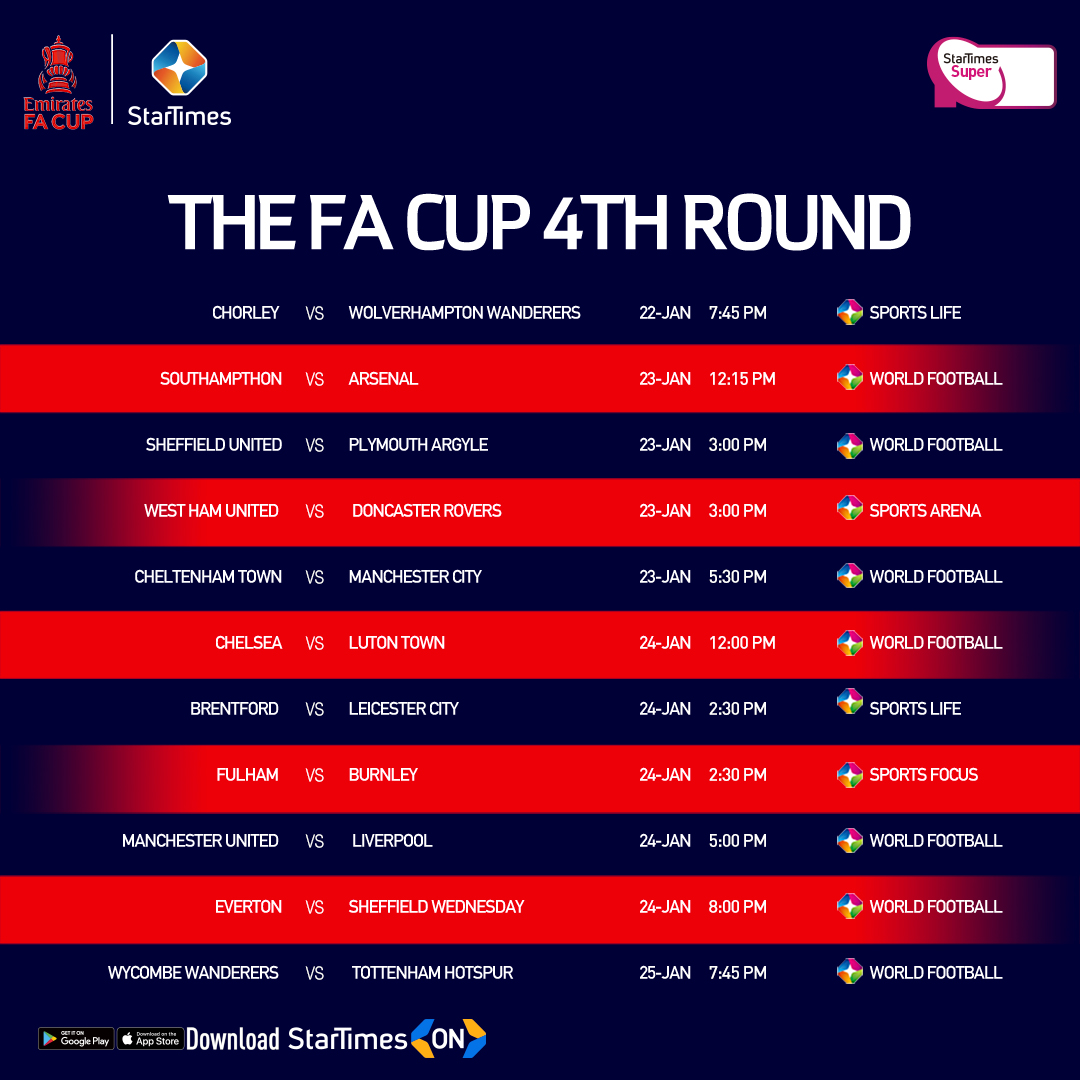 #EMIRATESFACUP 4TH ROUND!  The battle for supremacy continues when the Emirates FA Cup returns for round 4, showing LIVE this week on StarTimes Sports Channels & StarTimes ON App 📲!  #EmiratesFACup #StarTimesSports #StarTimes