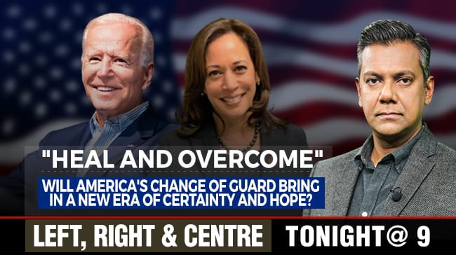 What will the new Biden-Harris administration mean for America?   Watch #LeftRightCentre with Vishnu Som tonight at 9 on NDTV 24x7 and