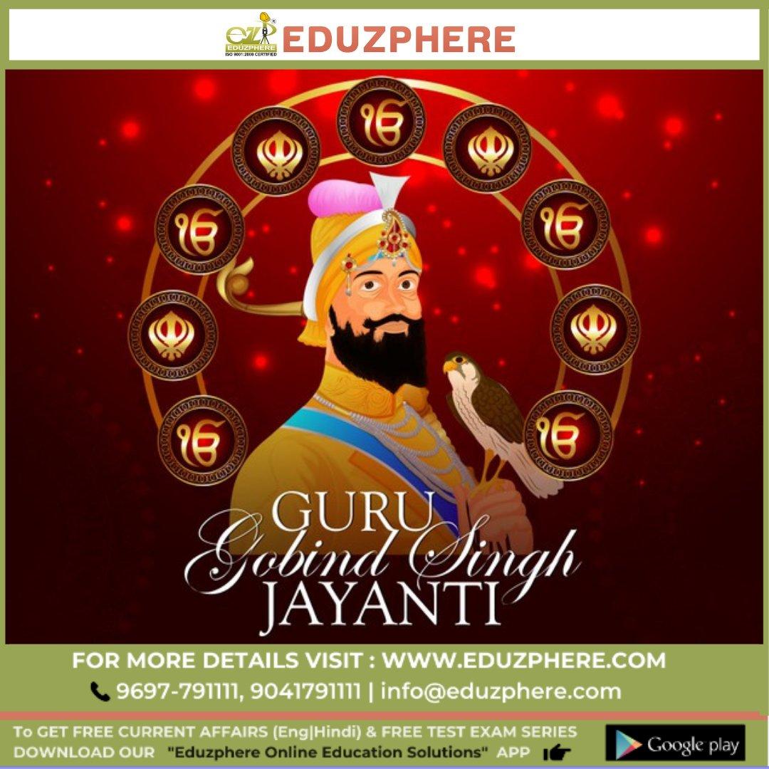Heartiest wishes to all on the auspicious occasion of Guru Purab!  Waheguru Ji ka Khalsa, Waheguru ji ki Fateh. Wishing All a Very Happy Guru Gobind Singh Jayanti! From Eduzphere Family #GuruGobindSinghJayanti #GuruPurab #GuruGovindSingh #GurusBlessings  #Celebration #Prosperity https://t.co/ZY0avlfITA